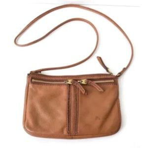 FOSSIL brown leather small crossbody bag purse